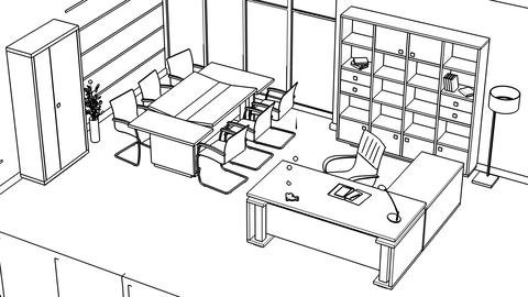 Office interior creation, wireframe Stock Video Footage