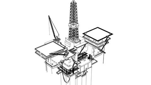 Construction of the oil platform, wireframe Animation