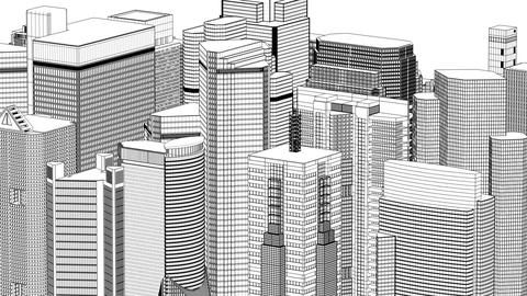 Wire frame cityscape, seamless loop Stock Video Footage