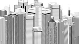 Wire frame cityscape, seamless loop Animation