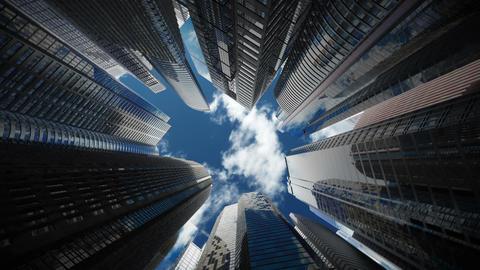 Skyscrapers over blue sky, seamless loop Stock Video Footage