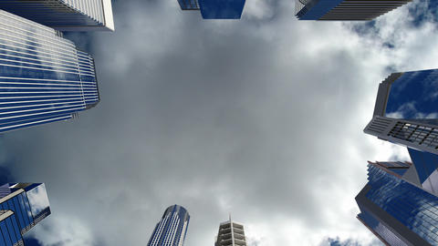 Skyscrapers over blue sky Stock Video Footage
