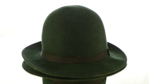 Green vintage hat Stock Video Footage