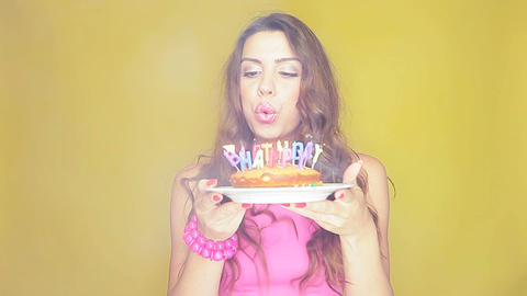 Birthday girl with her cake Stock Video Footage