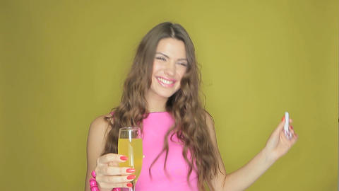 Happy young woman celebrating Stock Video Footage