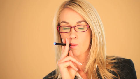 Businesswoman smoking a cigarette Footage