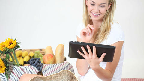 Woman using her tablet at a picnic Stock Video Footage