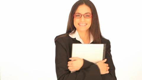 Beautiful smiling woman with laptop Stock Video Footage
