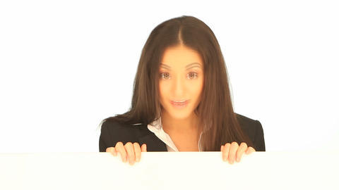 Businesswoman with advert board Stock Video Footage