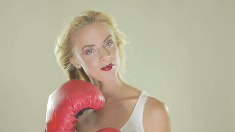 Blonde woman with boxing gloves Footage