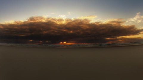 Timelapse Stormy Sunrise Beach Stock Video Footage