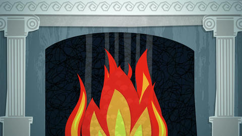 Winter Fireplace Loop HD Stock Video Footage