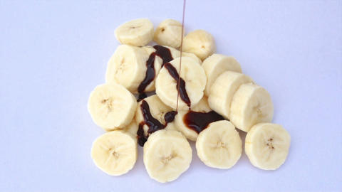 Banana with Chocolate Stock Video Footage