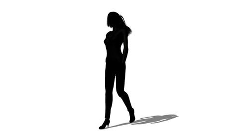 歩く女性のシルエット Stock Video Footage