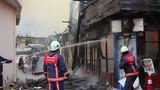 ISTANBUL, TURKEY - FEBRUARY 2012: fire in wooden house Footage