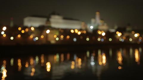 night Kremlin Embankment bokeh Stock Video Footage