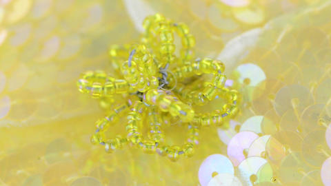 Yellow fabric flower closeup Stock Video Footage