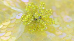 Yellow fabric flower closeup Stock Video Footage