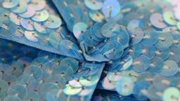 FSC 6191Blue fabric flower closeup Footage