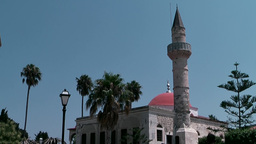 Greece The Aegean Sea Kos 037 Mosque With Minaret In City Center stock footage