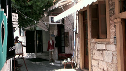 Greece the Aegean Sea Kos 047 shabby house entry with awning Footage