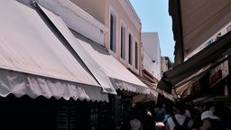 Greece the Aegean Sea Kos 049 awnings in pedestrain zone Footage
