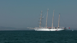 Greece the Aegean Sea Kos 065 white sailing schooner at anchor Footage