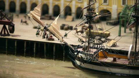 Loading Of Sailing Ship In A Cargo Port stock footage