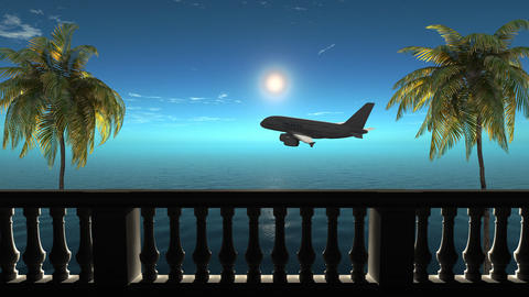 Air travel on the sea, palm trees, beach, relaxation 애니메이션