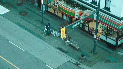 close birdseye of 7-11 downtown Live Action