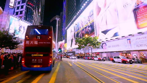 Fast speed video of crowded city street. Hong Kong Footage