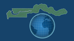 Gambia and Globe. Relief Animation