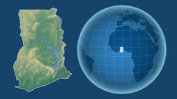 Ghana and Globe. Relief Animation
