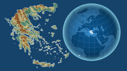 Greece and Globe. Relief Animation