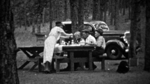 1935: Family picnic in pine tree forest at new black Plymouth car Footage