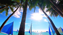 Sunny day at tropical ocean with sailing boats at horizon. Boracay, Philippines Footage