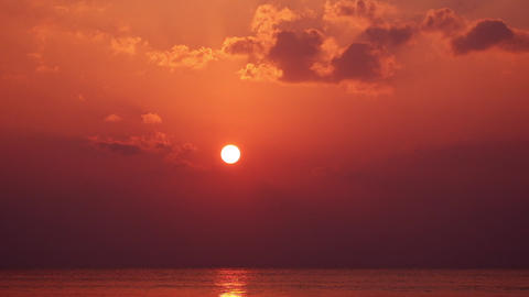 Amazing sunset at tropics. Ocean horizon. Myanmar (Burma) travel Live Action