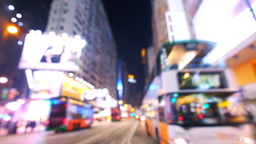Abstract city blurred video of evening crowded street. Hong Kong Footage