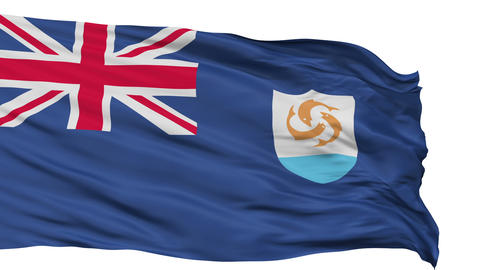 Isolated Waving National Flag of Anguilla Animation