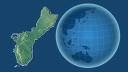 Guam and Globe. Relief Animation