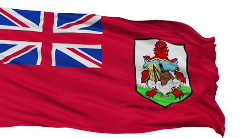 Isolated Waving National Flag of Bermuda Animation