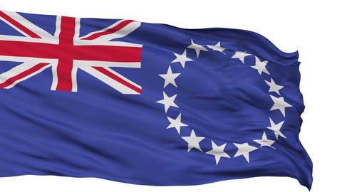Isolated Waving National Flag of Cook Islands Animation