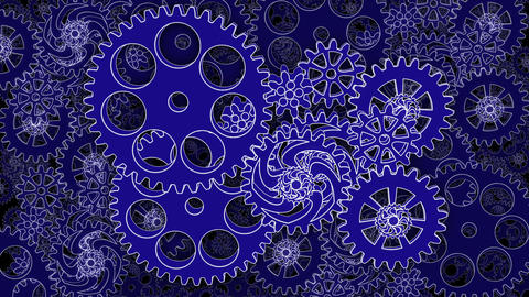 Abstract Gears rotating in looped animation Animation