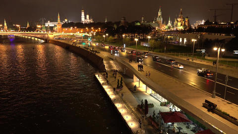 Moscow Kremlin embankment in the summer evening, Russia Footage