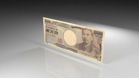Close up of Japanese yen banknote in rotation view on a... 動画素材, ムービー映像素材