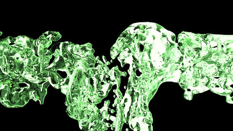 Green water splash with bubbles of air with alpha matte CG動画素材
