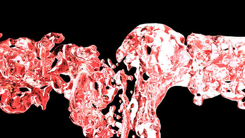 Red water splash with bubbles of air with alpha matte CG動画素材