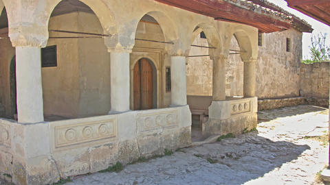 The courtyard of an ancient house with antique columns Footage