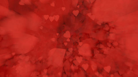 A fountain of red hearts falling to the surface Image