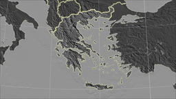 Greece and neighborhood. Grayscale contrasted Animation